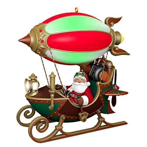- Hallmark Christmas Ornament 2018 Year Dated Santa Sleigh Flight of Fancy With Light,