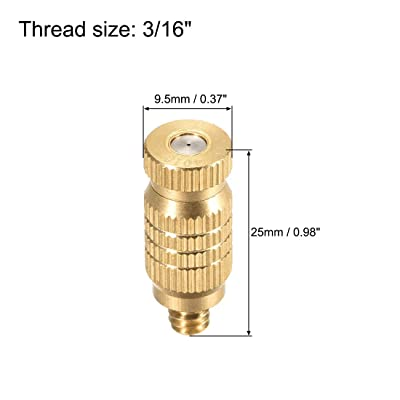 "5 Pcs Golden Brass Misting Nozzle 3//16/"" 0.3mm Orifice Dia Fogging Spray Head"