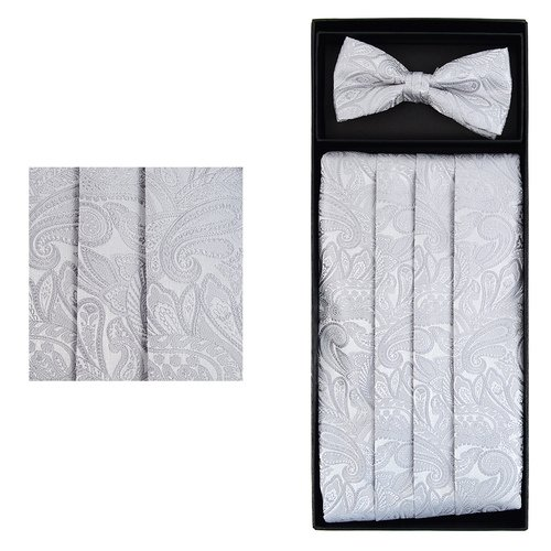 Men's Formal Paisley Matching Cummerbund and Pre-Tied Bow Tie Wedding Set (Silver Gray)
