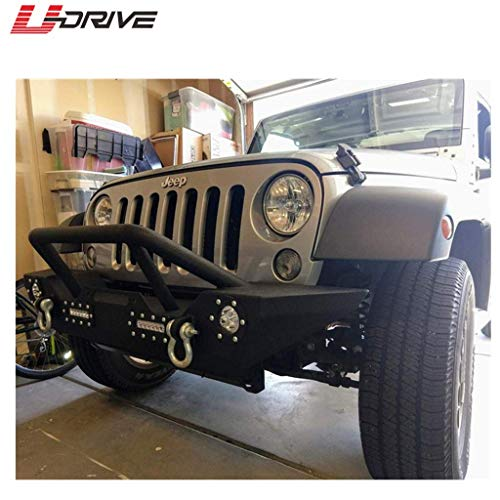 Black Textured Rock Crawler Bumper with 4 Led Lights and Winch Plate for 2007-2018 Jeep Wrangler JK U-Drive Front Bumper
