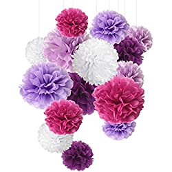 Tissue Paper Pom Pom Paper Flower Ball for Party Decoration and Celebration - 15 Pcs of 8, 10, 14 inch (Purple)