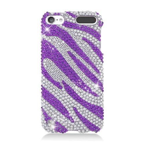 LF Purple Zebra Rhinestone Hard Case Protector Cover, Lf Stylus Pen and Lf Screen Wiper Bundle Accessory for Apple Ipod Touch 5