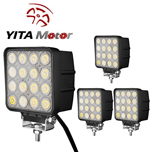 YITAMOTOR Led Light Bar,4PACK 4 inch square led work light 48W off road Flood light truck lights 4×4 off road tractor jeep work lights fog lamp