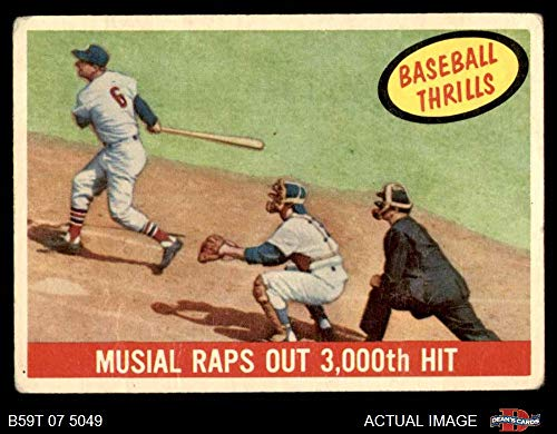 Stan Musial St Louis Cardinals - 1959 Topps # 470 Raps Out 3000th Hit Stan Musial St. Louis Cardinals (Baseball Card) Dean's Cards 2 - GOOD Cardinals