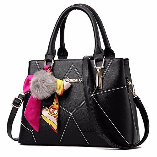 Moda Bolso 1 Gran 2 Hombro Negro Mujeres de Las de CCZUIML de Capacidad Rosa Bag de 5wFHX8x