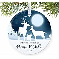 """1st Christmas as Mommy & Daddy 2017, New Parents Ornament, Deer Family Porcelain Ornament, 3"""" Flat Circle Christmas Ornament with Glossy Glaze, White Ribbon & Free Gift Box 
