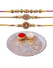Hathkaam 5PC Rakhi Platter Set for Brother & Bhabhi 3Pc Rakhee Bracelet Bhai Bhaiya Happy Raksha Bandhan Women Artisans Love from Sister Decorative Pooja Plate with Roli Chawal Vatis (Cups) HKRP00801