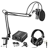Neewer NW-700 Pro Condenser Microphone and Monitor Headphones Kit with 48V Phantom Power