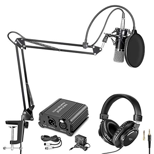 Neewer NW-700 Pro Condenser Microphone and Monitor Headphones Kit with 48V Phantom Power Supply, NW-35 Boom Scissor Arm Stand, Shock Mount and Pop Filter for Home Studio Sound Recording(Black) (Best Music Studio Microphone)