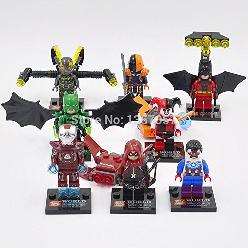 Iron Man Red Arrow Batman Yellow Jacket Deathstroke Marvel DC MiniFigures Toy Super Heroes Series Action Figure Building Blocks Brikcs Set Compatible (Original Batman Suit)