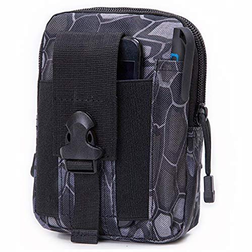 AnSaw Universal Outdoor Tactical Waist Bag, Tactical EDC Molle Pouch Hiking Camping Cycling Trekking Belt Waist Hip Bag with Cell Phone Holster Holder (Python Black)