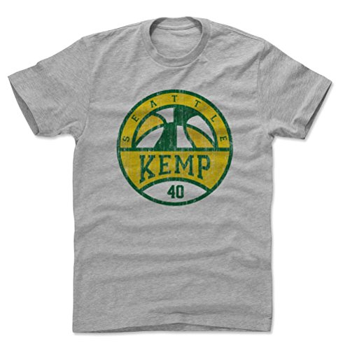 500 LEVEL Shawn Kemp Cotton Shirt (Large, Heather Gray) - Seattle Sonics Men's Apparel - Shawn Kemp Basketball SEA G