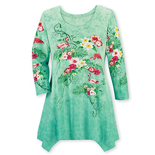 Collections Women's Flamingo Tropical Hibiscus Floral Sharkbite Sequin Print Tunic Top, Green Multi, X-Large (Tunic Hibiscus)
