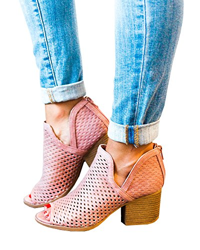 Womens Booties Chunky Low Heel Peep Open Toe Suede Ankle Chukka Chelsea Taupe - Chelsea Pink