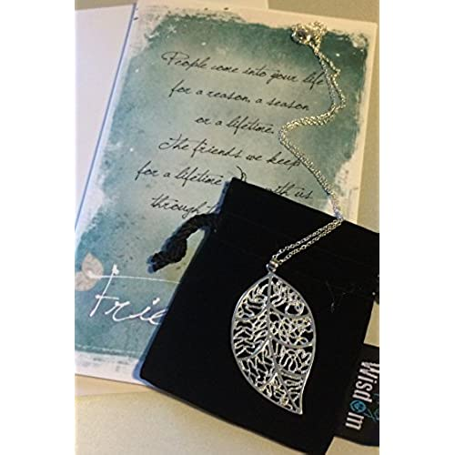 Reason Season Lifetime Friendship Silver Leaf Greeting Card Gift Set - Leaf Necklace Sentiment - Unique Gifts Sales