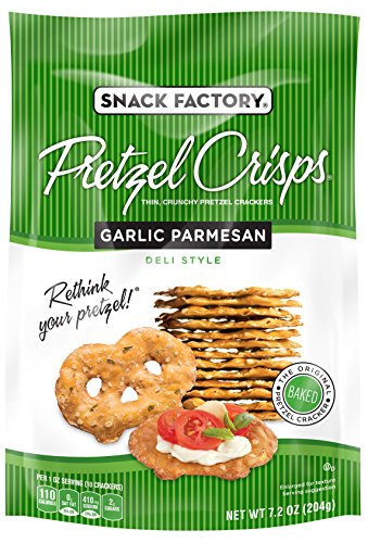 Snack Factory Pretzel Crisps, Garlic Parmesan, 7.2 Ounce (Pack of 12)
