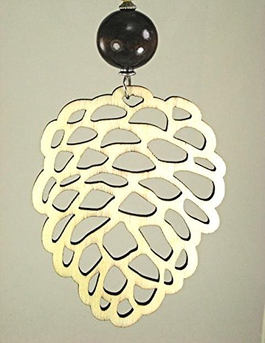 Extra Large Wood Cutout Pine Cone with Brown Wood and Swirl Lampwork Glass, Natural Wood Ceiling Fan Pull Chain