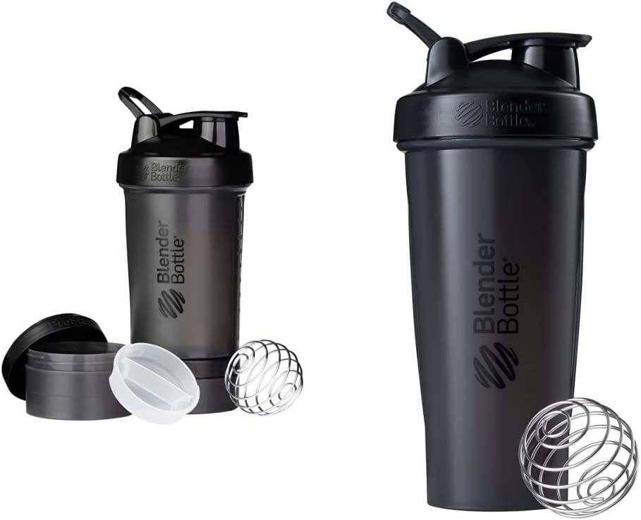 BlenderBottle Shaker Bottle with Pill Organizer and Storage for Protein Powder, ProStak System, 22-Ounce, Black & Classic Shaker Bottle Perfect for Protein Shakes and Pre Workout, 28-Ounce, Black