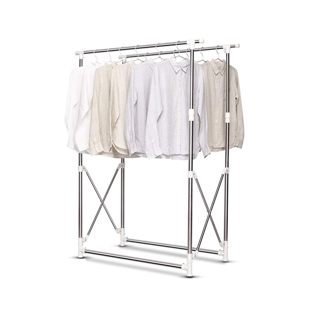 乾燥ラック 乾燥ラックダブルロッドステンレス鋼床折りたたみ式伸縮式バルコニー室内用ハンガー衣類ラックサイズ(110-170)X(121-163)x61 Cmベアリング100kg B07JYYPK7M