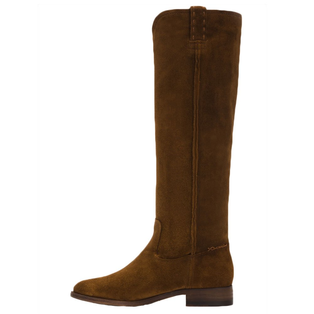 FRYE Women's Cara Tall Suede Slouch Boot, Wood, 8 M US