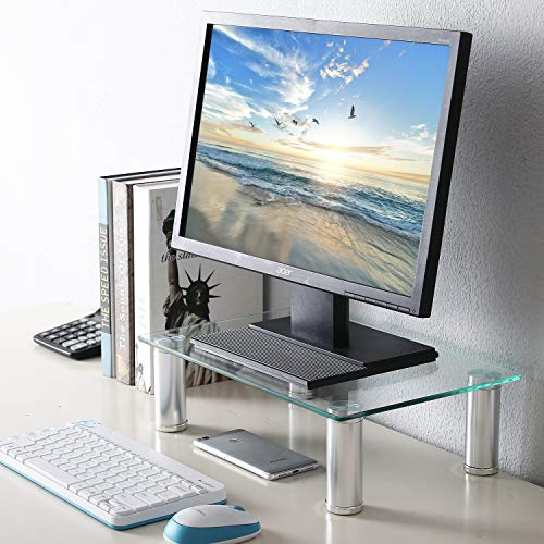 (TAVR Clear Computer Monitor Stand Desktop Riser with Tempered Glass Chrome Aluminum Legs for Flat Screen LCD LED TV, Laptop/Notebook/Xbox One CM2002)
