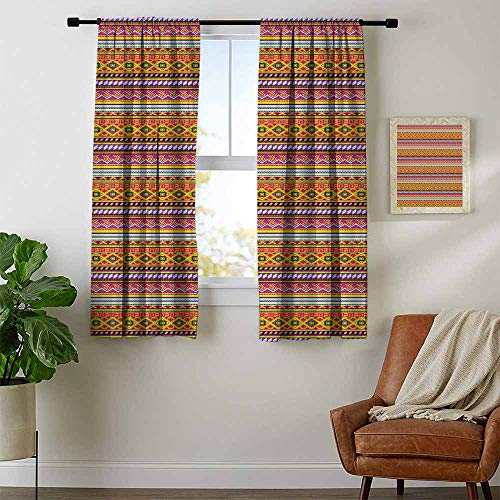 (Mozenou Mexican, Curtains Elegant, Folkloric Old Vintage Ornament Design with Geometric Shapes and Stripes Colorful, Curtains for Sliding Glass Door, W72 x L72 Inch Multicolor)