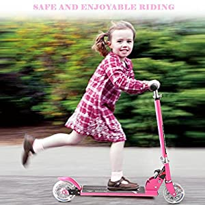 (US Stock) Foldable Portable Kids Kick Scooter,Height Adjustable HandleBar Mini Push Scooter with 2 LED Lighted UP Wheels for Kids from 4-8 Years (Pink)
