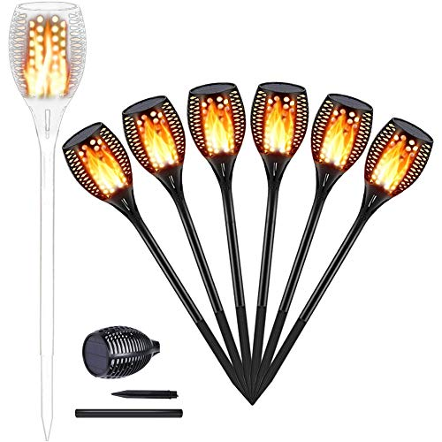 Solar Torch Lights Outdoors, Garden Pathway Light with Realistic Dancing Flames, Waterproof Landscape Lighting with Auto On/Off Dusk to Dawn for Halloween Christmas Lights Decorations(6 Pack) -