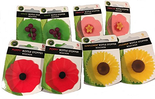 Wine Silicone Bottle Stopper - Charles Viancin, Floral Bottle Stopper: Hibiscus, Sunflower, Poppy, Grape, Set of 8 ...
