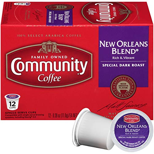 Community Coffee Signature New Orleans Blend Dark Roast Single Serve, 12 Ct Box, Compatible with Keurig 2.0 K Cup Brewers, Full Body Bold Taste, 100% Arabica Coffee Beans