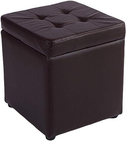 WEWE Cuero del Faux Almacenamiento Otomano Taburete Pie Puff Asiento,Cubo con Hinge Top Organizador Caja Cofre De Puf Solo Asiento-marrón 30x30x35cm(12x12x14inch): Amazon.es: Hogar