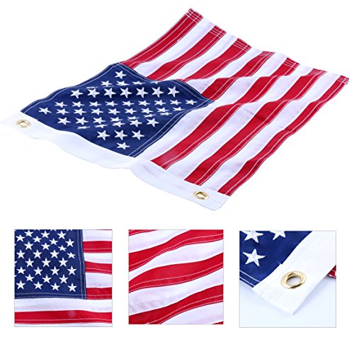 Amarine-made12x18 Inch Yacht Boat Ensign Nautical US American Flag With Sewn Stripes and Embroidered Stars -45CM(18Inch)30CM(12Inch)For Boat, yacht, Workplace ,Home, Business & Outdoor (Ensigns Boat)
