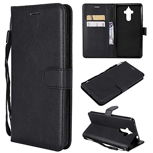 Huawei Mate 9 Wallet Case, CUSKING Premium Leather Cover with Silicone Inner Case for Huawei Mate 9 [Card Holder] [Magnetic Closure] [Hand Strap] – Black