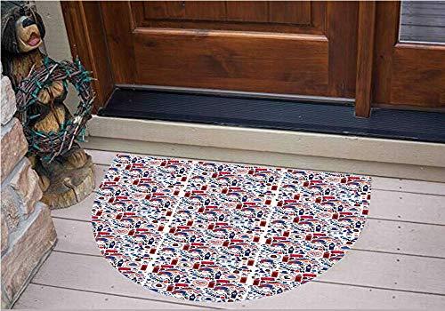 3D Semicircle Floor Stickers Personalized Floor Wall Sticker Decals,Smbols Queen Elizabeth Umbrella Tea Party Map,Kitchen Bathroom Tile Sticker Living Room Bedroom Kids Room Decor Art Mural D23.6