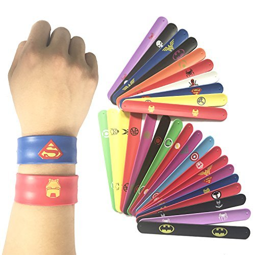 28 pack Superhero Slap Bands Bracelet for Kids Boys & Girls Birthday Party Supplies Favors by Lcoor (Image #4)