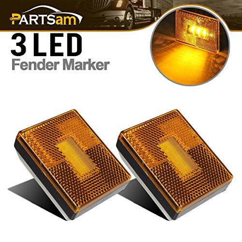 Partsam (2) Amber 3 LED Square Stud Mount Clearance Side Marker Lights Trailer Camper w - Amber Reflector Lights