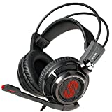Upgraded Etekcity HIFI USB 7.1 Channel Virtual USB Surround Sound Noise Isolation Stereo Over-ear Gaming Headset headphones for PC/MAC with Mic and Volume Control LED Light (Black/Red)