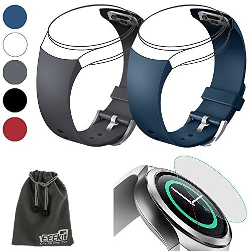 EEEKit 3in1 Starter Kit for Samsung Gear S2 (SM r720 Version ONLY) Smart Watch, 2 Pcs Silicone Watch Band Strap+Tempered Glass Screen Protector