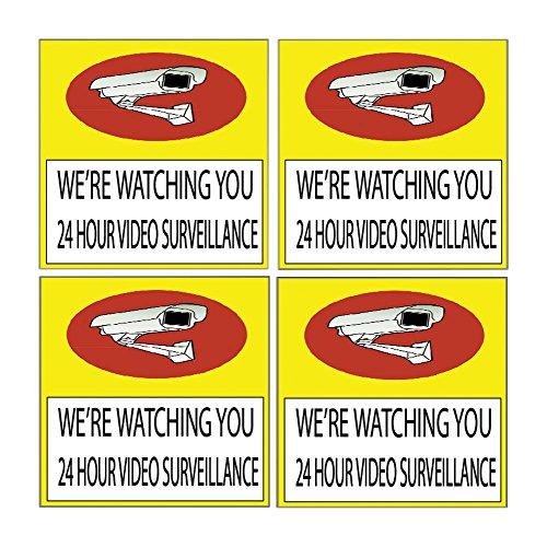 (4 Pack Warning Security Video Camera Surveillance Monitored 24 Hour Sign Sticker Decal Window Door Indoor Outdoor (5x5 Watching))