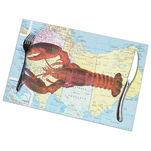 Efbj Washable Placemats for Kitchen Table Dining Room Decor, Lobster World Map Print Table Mats Rectangle, 6 PCS]()