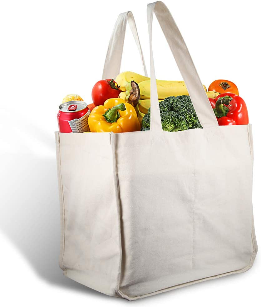 Amazon.com: Canvas Grocery Shopping Bags with Bottle Sleeves, MICARSKY 100%  Organic Cotton Cloth Reusable and Washable & Eco-friendly Wine Totes with  Handles (1 Bag): Kitchen & Dining