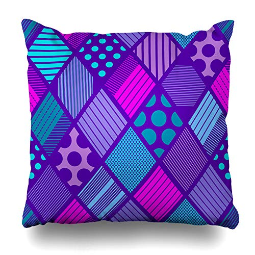 Ahawoso Decorative Throw Pillow Cover Line Blue African Abstract Rhombuses Tribal Pattern Geometric Boho Rhombus Pink Bright Circle Color Home Decor Zippered Square Size 18