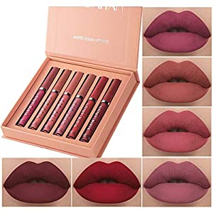 Best Epic Trends 51yIbzh%2BdeL._SS300_ 6Pcs Matte Liquid Lipstick Makeup Set, Matte liquid Long-Lasting Wear Non-Stick Cup Not Fade Waterproof Lip Gloss (Set A…
