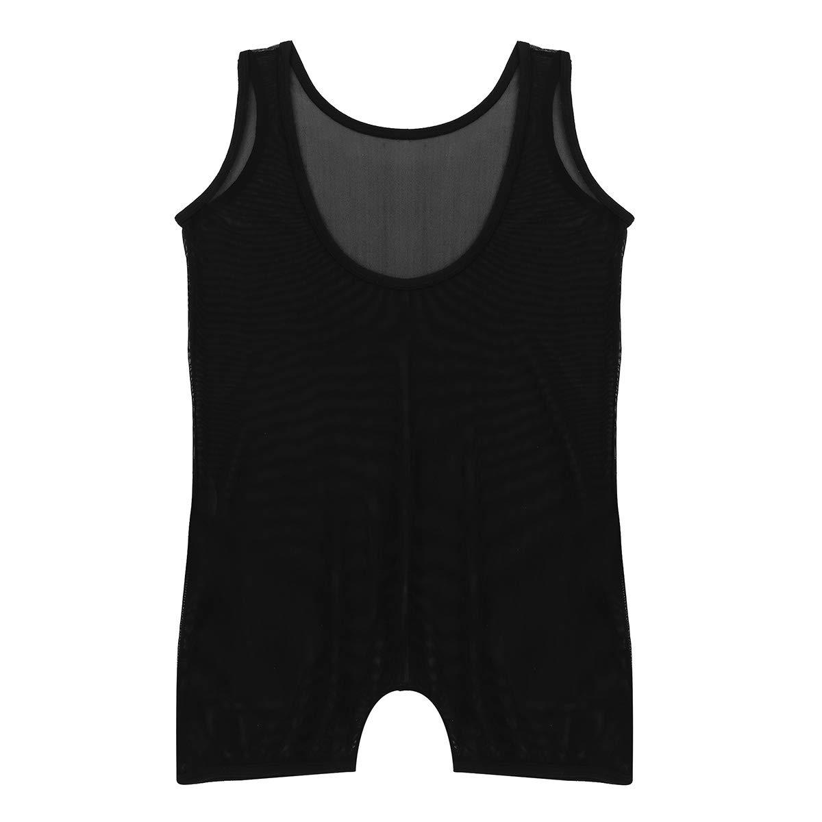 winying Mens One Piece Mesh Sheer Sleeveless Scoop Neck Leotard Bodysuit Lingerie Underwear