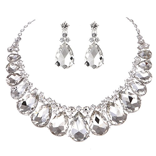 (Youfir Water Drops Austria Crystal Necklace Earrings Set for Bridal Wedding Ceremony Events Dress(Crystal))
