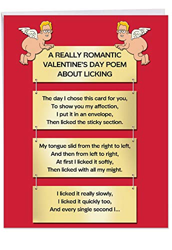 Hilarious Valentine Licking Poem Greeting Card with Envelope (XL 8.5 x 11 Inch) - Funny Valentine's Day Card for Wife, Women - Naughty Stationery Notecard, Vday Gift for Woman J5099VDG