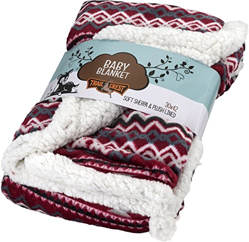 Ultra Soft Sherpa Fleece Cozy Plush Baby Blanket for Kids, Reversible with Aztec Prints 4 Colors