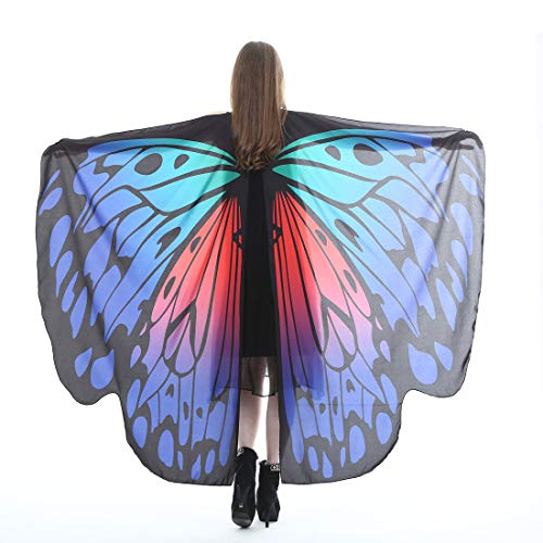 Halloween Party Soft Fabric Butterfly Wings Shawl Fairy Ladies Nymph Pixie Costume Accessory (Royal Blue & Red)]()