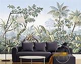 LWCX Wall Paper European - Style Hand - Painted Garden Trees rain Forest Banana Coconut Trees Retro Wallpaper 430X280CM