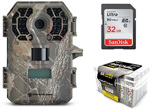 Trail Camera Bundle 3 Items | Stealthcam G42NG + Rayovac AA Battery 24 PK + 32 GB SD Card | 10 MP Pictures | HD Video W/Audio| NO Glow Night ()